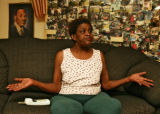Cynthia Brown Lee (cq), mother of arrested  sexual assault suspect Luther C. Hill, talks to the...