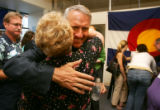 Democratic Gubernatorial candidate Bill Ritter (cq) hugs state representative candidate for...