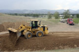 Dirt was laid at the beginning of the building process for the Columbine High School Memorial,...