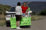 Silt, Colorado resident Nancy Jacobsen (cq)(on right) talks with Silt resident Karen Trulove (cq)...