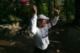 Arthur Webb, of Santa Rosa, Calif., celebrates finishing his 9th Kiehl's Badwater Ultramarathon at...