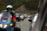 07/05/2004 Georgetown, Colorado-Traffic backs up on east bound Interstate 70 just west of...