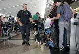 Denver Police Technician Brian Wallace (cq) and his K9 Bianca  perform added security Thursday...