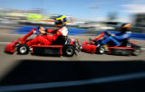 Two-time defending Champ Car champion of the Denver Grand Prix Sebastien Bourdais pulls out of a...