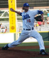 Fort Worth Cats pitcher Luke Hochevar pitches against Shreveport at LaGrave Field, Saturday, May...
