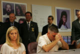 Amie Sperry, cq, left, daughter of murder victim Rocio Sperry, and her father Joseph Sperry, cq,...