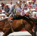 KAS1144 J.W. Winklepleck of Strasburg, Colo. tries to stay on his horse during bareback bronc...