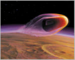 This artist's rendering shows the proposed SCIM spacecraft, which would streak through the Mars...