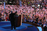 Former President Bill Clinton addresses the crowd at the Democratic National Convention at the...