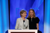 Sen. Hillary Clinton, left, D-NY, and her daughter Chelsea Clinton take part in a sound check at...
