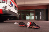 Bloody shoes and socks lie outside the emergency room at St. Anthony Central Hospital.
